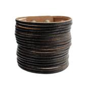 Black Cuff Genuine Leather Bracelet Slit Detail