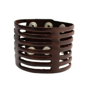 Brown Cuff Genuine Leather Bracelet Cut Out Slit Detail