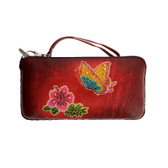 Butterfly Flower Leather Wallet Clutch or Wristlet