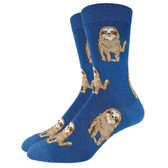 Men's Crew Socks Sloth Three Toed Mammal Blue