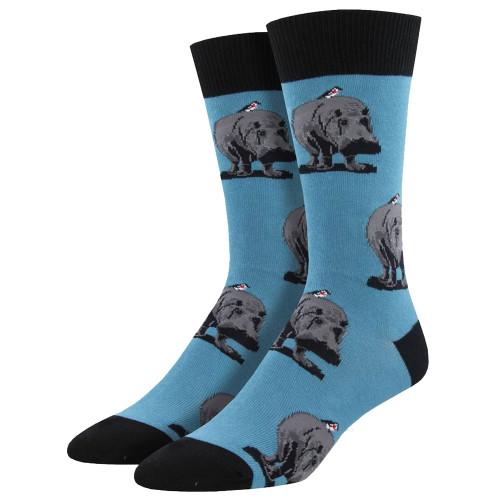 Men's Crew Socks Hip Hippo Ray Blue