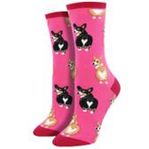 Women's Crew Socks Corgi Butt Puppy Dogs Pink