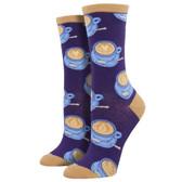 Women's Crew Socks Well Latte Da Coffee Purple