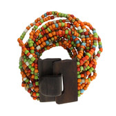 Orange Red Rust Green Bali Bracelet Glass Beads Wood Buckle Elastic