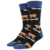 Men's Crew Socks Holiday Classic Christmas Winter Reindeer Black