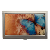 Blue Monarch Butterfly ID Case Business Card Holder Metal Wallet