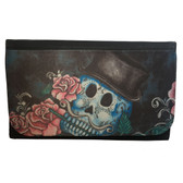 Women's Wallet Black Poly Canvas Top Hat Sugar Skull and Roses