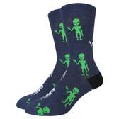 Men's Crew Socks Spooky Alien Green Martians
