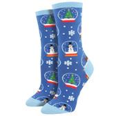 Women's Crew Socks Christmas Holiday Snowmen Snow Globes Blue