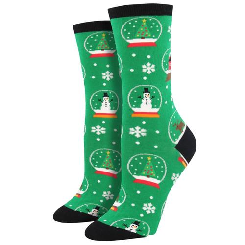Women's Crew Socks Christmas Holiday Snowmen Snow Globes Green