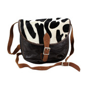 Dark brown Leather and Cowhide Fur Leather Crossbody Shoulder Bag Purse