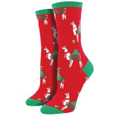 Women's Crew Socks Christmas Holiday Fa La Llama Red