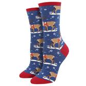 Women's Crew Socks Christmas Holiday Winter Reindeer Blue