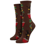 Women's Crew Socks Tribal Dancers Beat of the Drummer