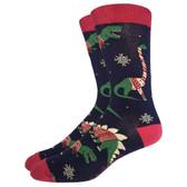 Men's Crew Socks Holiday Christmas Sweater Dinosaurs