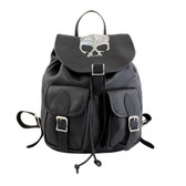 Black Leather Backpack Travel Bag with Metallic Silver Skull