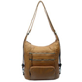 The Lisa Convertible Backpack Crossbody Purse Light Brown