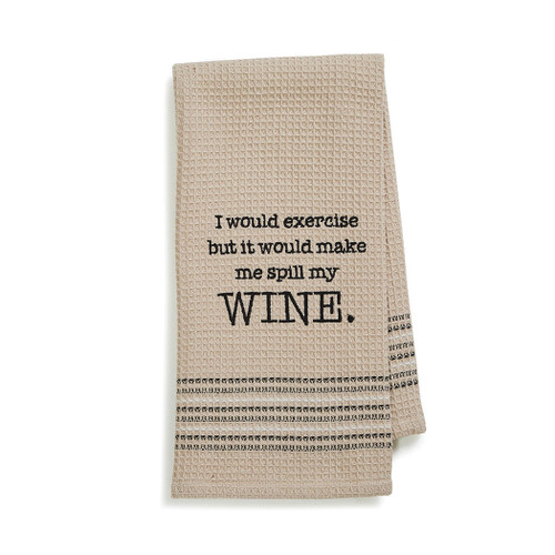 Wine Funny Novelty Cotton Dishtowel Tan