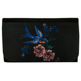 Women's Wallet Black Poly Canvas Clutch Purse Tattoo Art Swallow and Roses