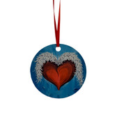 Heart and Wings Metal Hanging Ornament Christmas Tree Decor