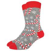 Men's Crew Socks Christmas Holiday Candy Canes and Snowflakes