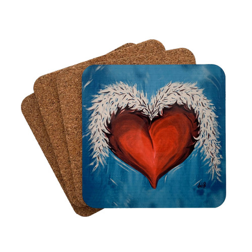 Heart and Wings Tattoo Art 4 Piece Coaster Set