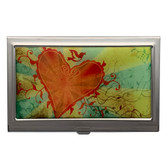 Orange Heart and Swallow Abstract Design ID Holder Business Card Case