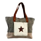 Mona B Starlit Handbag Up-cycled Canvas and Leather