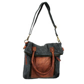 Mona B Admiral Fold Over Convertible Handbag Up-cycled Canvas and Leather