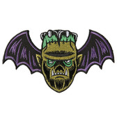 Monster Mash Frankenstein Bat Patch Embroidered Iron On Applique