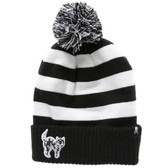 Black and White Striped Beanie Creep Heart Kitty Cat Knit Hat