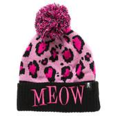 Meow Pink Leopard Animal Print Beanie Winter Hat