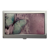 Pale Mint Green Monarch Butterfly ID Holder Business Card Case