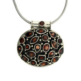 Large Red Garnet Pendant Sterling Silver Jewelry