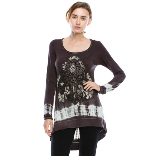 Vocal Apparel Charcoal Grey Jersey Tunic Top with Fleur de Lis