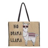Mona B Large No Drama Llama Burlap Tote Shopping Market Bag
