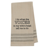 Funny Novelty Cotton Kitchen Dishtowel Wife's Voice In My Head