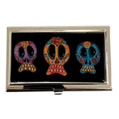 Day of the Dead Trio of Sugar Skulls ID Holder Business Card Case Metal Wallet