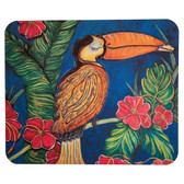 Computer Mouse Pad Tropical Toucan Jungle Bird with Hibiscus Flowers