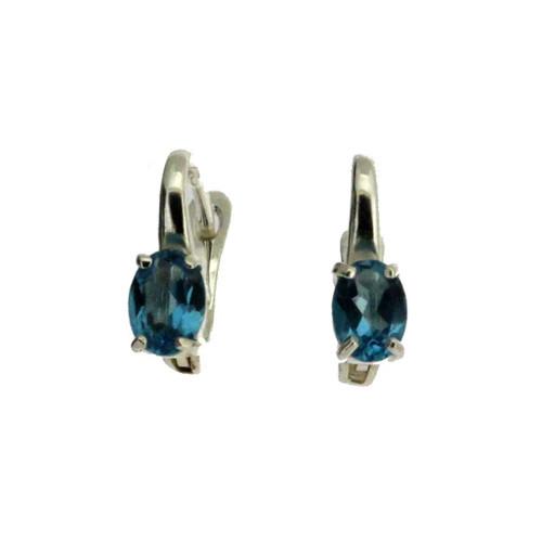 Faceted Blue Topaz Hoop Earrings Sterling Silver
