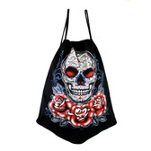 Black Tote Bag Drawstring Backpack Sack with Day of the Dead Skull and Roses