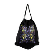 Black Tote Bag Drawstring Backpack Sack with Colorful Butterfly Design