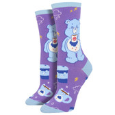 Women's Crew Socks Care Bears More Coffee Less Grumpy Purple