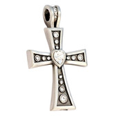 Bico Pacific Jewelry Pewter Pendant CORAZON Crystal Heart Cross