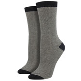 Women's Bamboo Crew Socks Herringbone Pattern Black & White