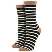 Women's Bamboo Crew Socks Sailor Stripes Black