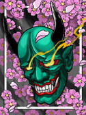 Hannya and Cherry Blossom Flowers by Paul Gobet Canvas Giclee Tattoo Art Print