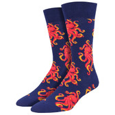 Men's Crew Socks Socktopus Octopus Eight Arm Sea Animal Navy Blue