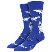 Men's Crew Socks Shark Chums Deadly Fish Blue