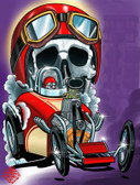 Life's A Drag by 2 Cents Skull Hot Rod Canvas Giclee Tattoo Art Print